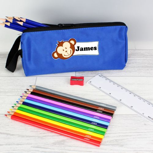 Blue Monkey Pencil Case with Personalised Pencils & Crayons Any Name